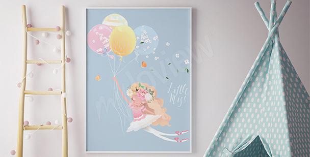 Poster Balletttänzerin mit Luftballons