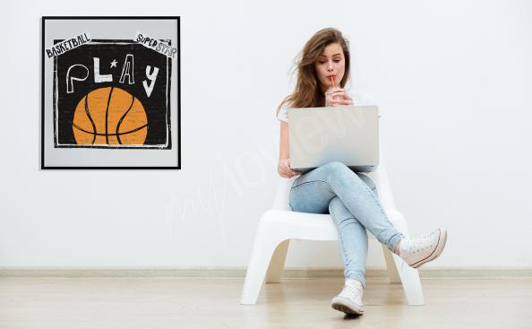 Poster Basketball mit Aufschrift