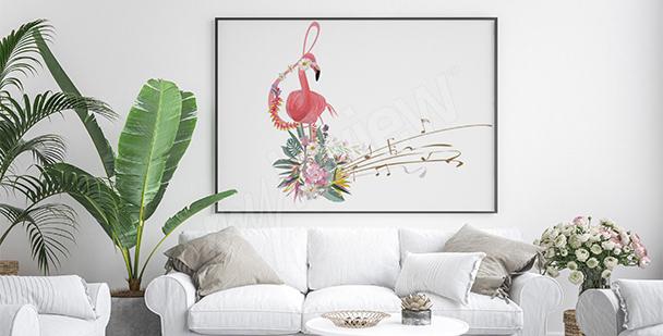Poster die fünf Notenlinien und Flamingo