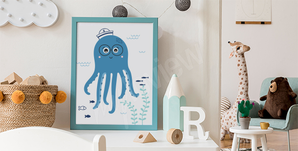 Poster fröhlicher Oktopus