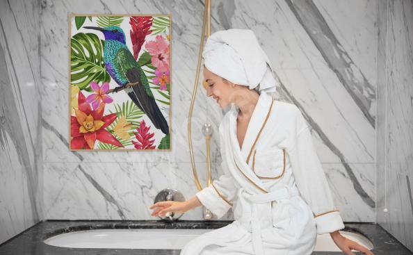 Poster fürs Badezimmer tropischer Vogel