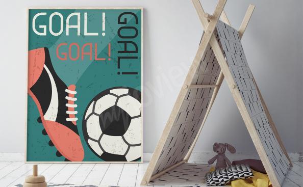 Poster Fußball Reto-Stil
