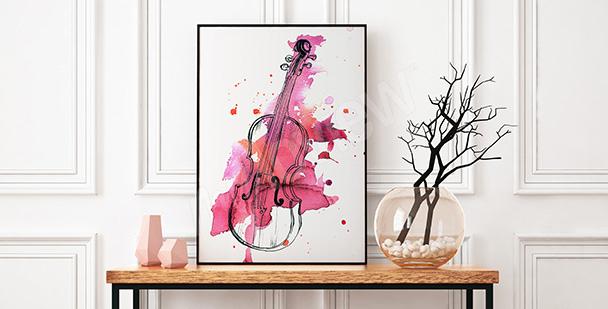 Poster Geige als rosa Aquarell