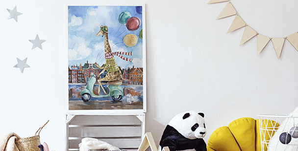 Poster Giraffe auf einem Motorroller
