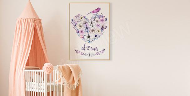 Poster Herz aus Blumen