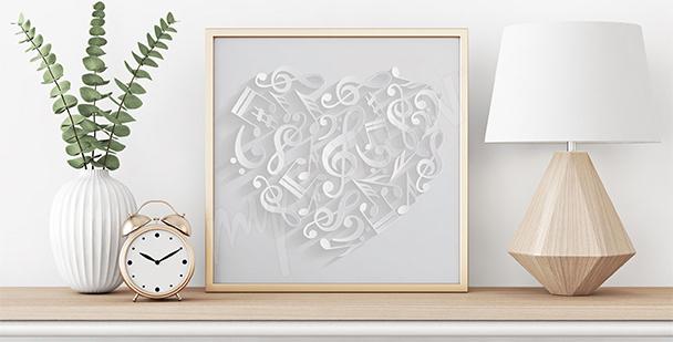 Poster Herz mit Noten