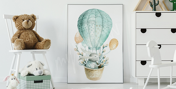 Poster Kaninchen in Aquarell