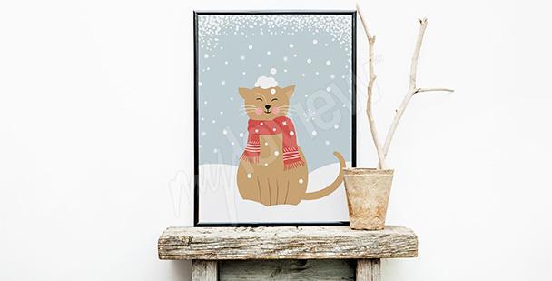 Poster Katze im Schnee
