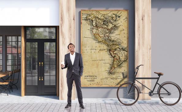 Poster Kontinente im Vintage-Stil