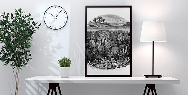 Poster Korallenriff schwarz-weiß