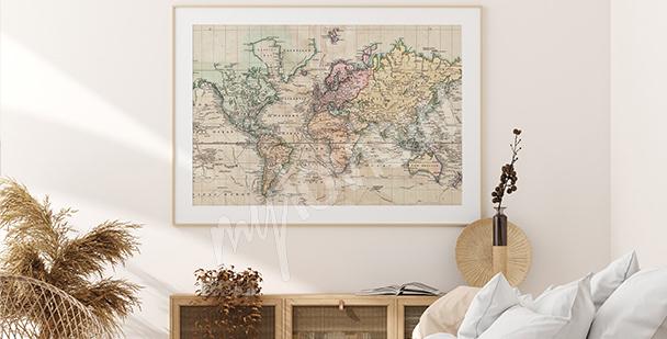Poster Landkarte im Retro-Stil