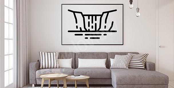Poster minimalistischer Wasserfall