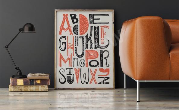 Poster mit Alphabet für Wohnzimmer