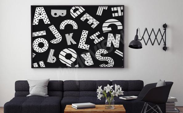 Poster mit Alphabet für Wohnzimmer - Buchstaben