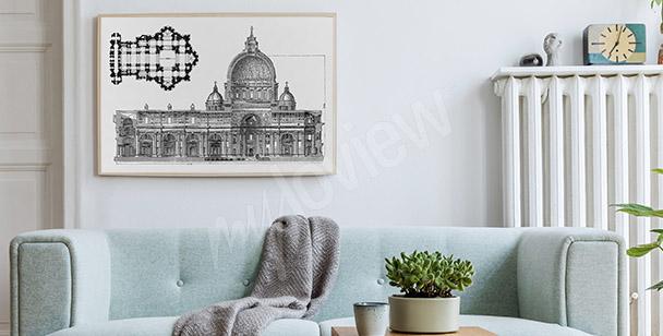 Poster mit Architektur Zeichnung