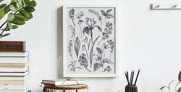Poster mit Blumenzeichnung