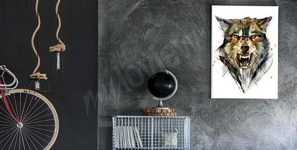 Poster mit einem Wolf für den Flur