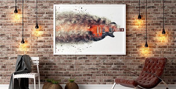 Poster mit einer brennenden Gitarre