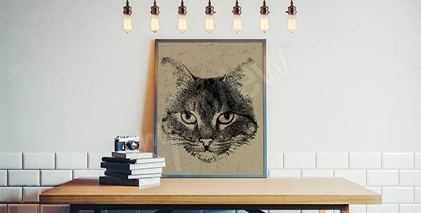 Poster mit einer Katze Vintage
