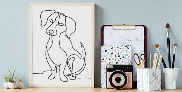 Poster mit Hundeskizze