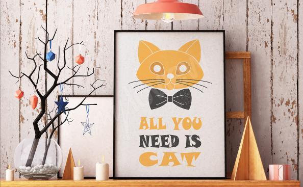 Poster mit Katze und Aufschrift