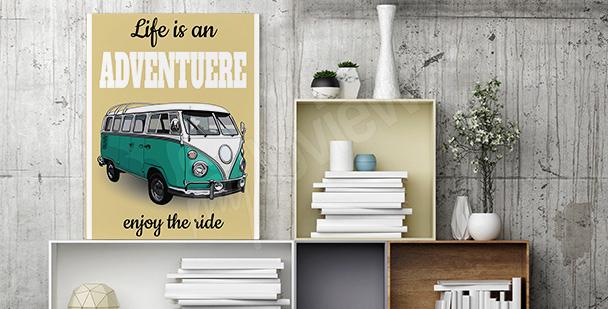 Poster mit Kleinbus im Retro-Stil