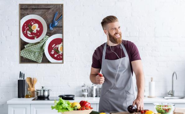 Poster mit Rote-Bete-Suppe für die Küche