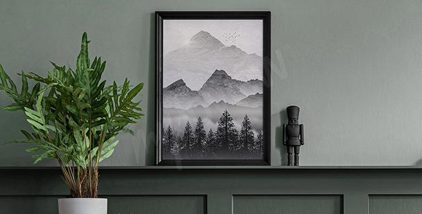 Poster mit Berglandschaft