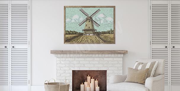 Poster Mühle im Feld