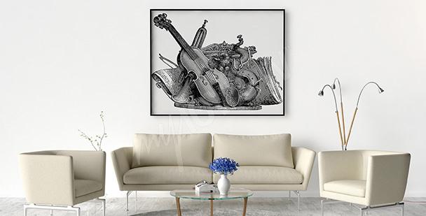 Poster Musikinstrumente Vintage