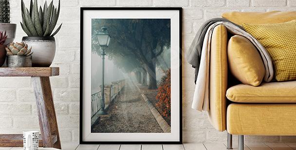 Poster Park im Nebel