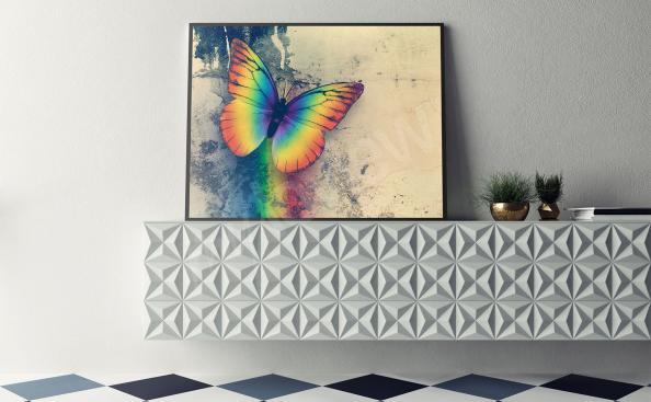 Poster Regenbogen-Schmetterling