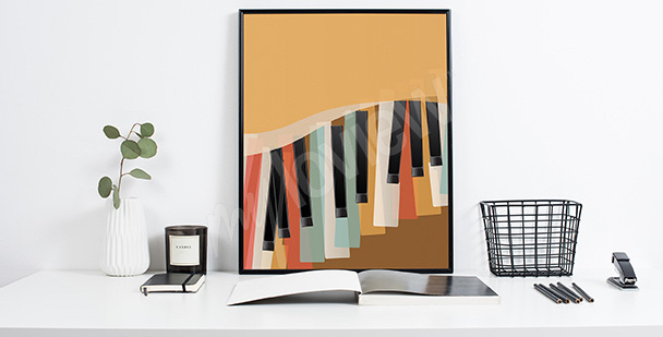 Poster Retro Klaviertasten