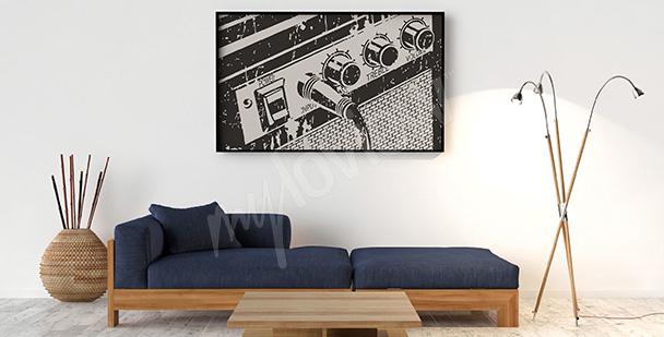 Poster Retro mit einem Gitarrenverstärker
