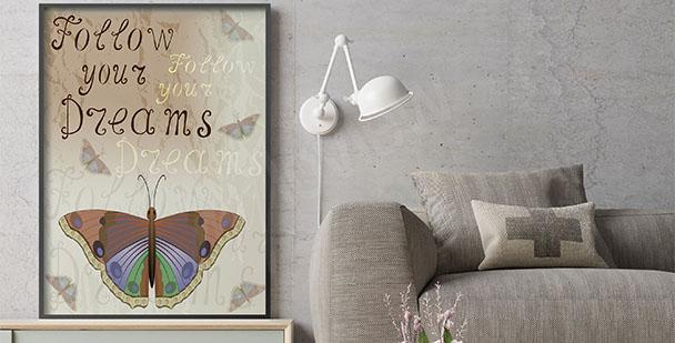 Poster Retro mit Schmetterling