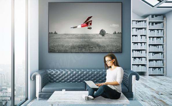 Poster rotes Flugzeug