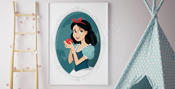 Poster Schneewittchen mit Apfel