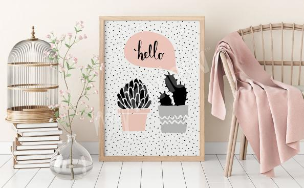 Poster skandinavisch mit Kaktus