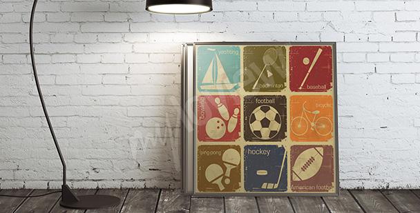 Poster Sportarten Retro-Stil