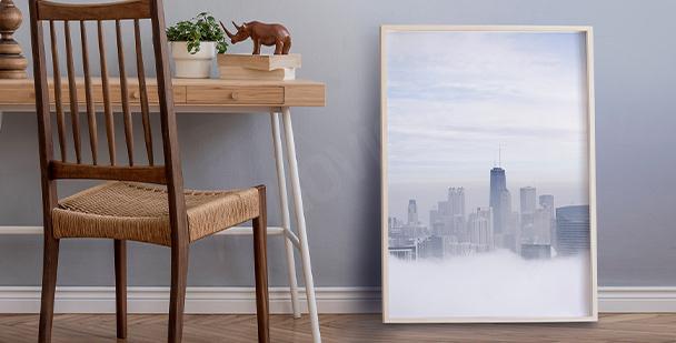 Poster Stadt im Nebel
