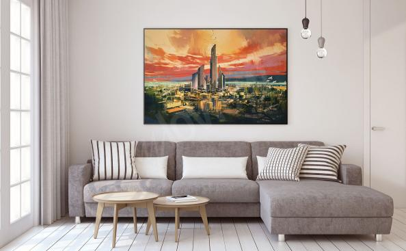 Poster Stadt und Wolkenkratzer
