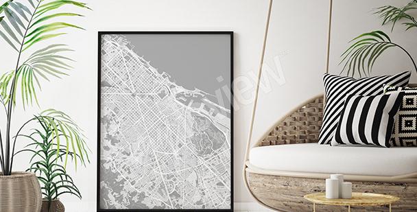 Poster Stadtplan von Barcelona