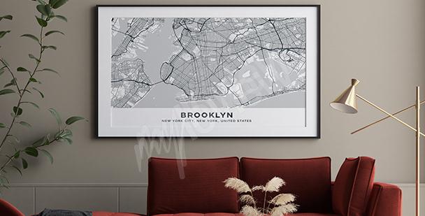 Poster Stadtplan von Brooklyn