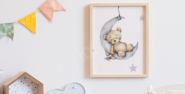 Poster Teddybär auf dem Mond