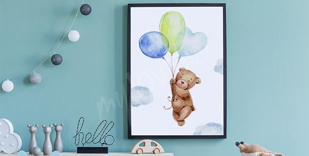 Poster Teddybär und Luftballons