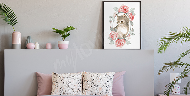 Poster Tier in Pastellfarbe