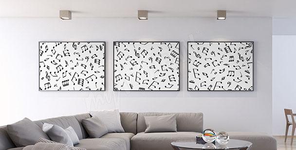 Poster Triptychon mit den Noten