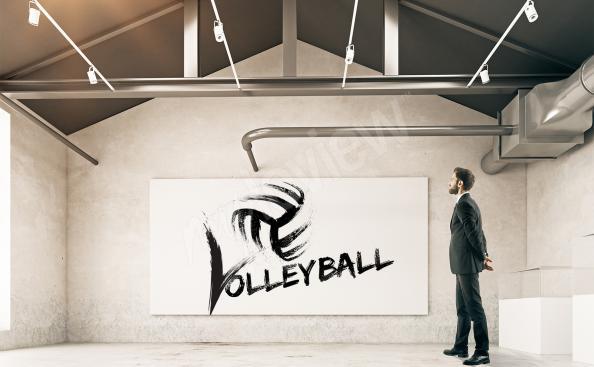 Poster Volleyball schwarz-weiß