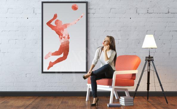 Poster Volleyballspieler und Ball