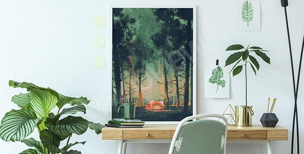 Poster Wald bei Nacht